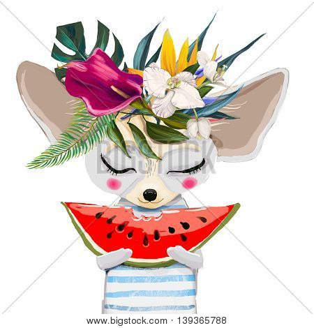 cute summer mouse with water mellon and floral wreath
