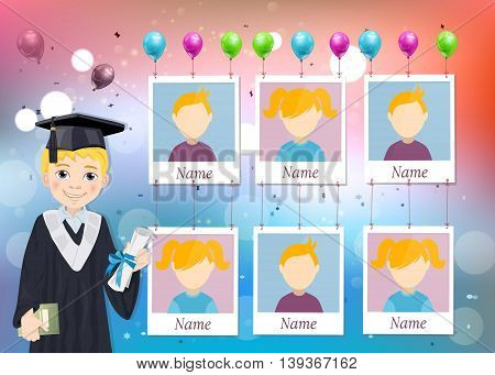 Yearbook for school with graduate boy and six photos vector