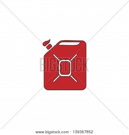 Jerrycan oil. Red flat simple modern illustration icon with stroke. Collection concept vector pictogram for infographic project and logo