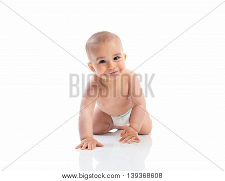 Funny smiling baby crawling isolated, close up