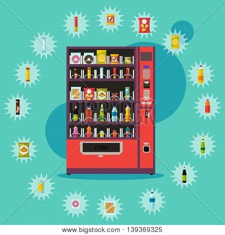 Vending machine with product items. Vector illustration in vector style. Food and drinks design elements and icons.