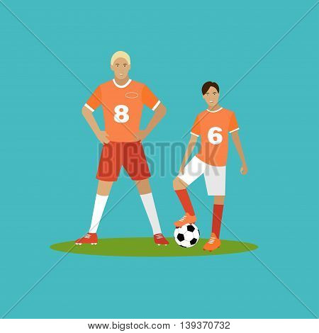 Soccer player with equipment. Sport concept vector illustration in flat style design. Football uniform, cleats, ball and protection. Design elements and icons.