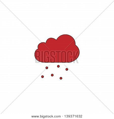 Cloud with hail. Red flat simple modern illustration icon with stroke. Collection concept vector pictogram for infographic project and logo