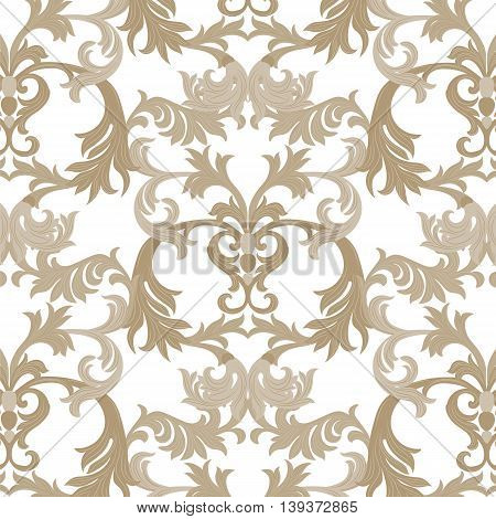 Vector damask pattern ornament. Exquisite Baroque element template. Classical luxury fashioned damask ornament Royal Victorian texture for textile wrapping. Almond beige pattern