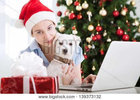 Young Beautiful Girl With Dog Christmastime