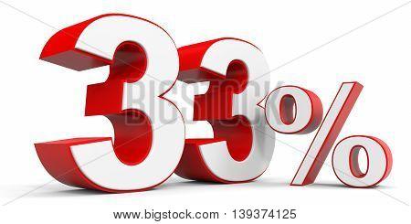 Discount 33 percent off sale. 3D illustration.