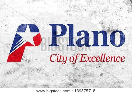 Flag Of Plano, Texas, Usa, With A Vintage And Old Look