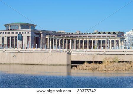 KAZAN, RUSSIA - MAY 02, 2016: View on the building of the Kazan (Volga region) Federal University from the Nizhny Kaban lake. Historical landmark of the city Kazan, Tatarstan