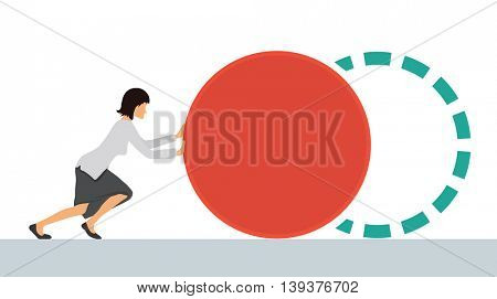 Benchmarking concept illustration, vector. Woman pushes the element. Bring up to standard benchmark.