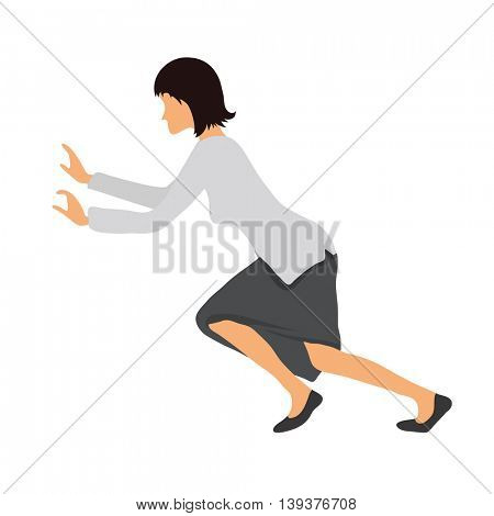 Bussineswoman woman pushing something. Vector illustration.