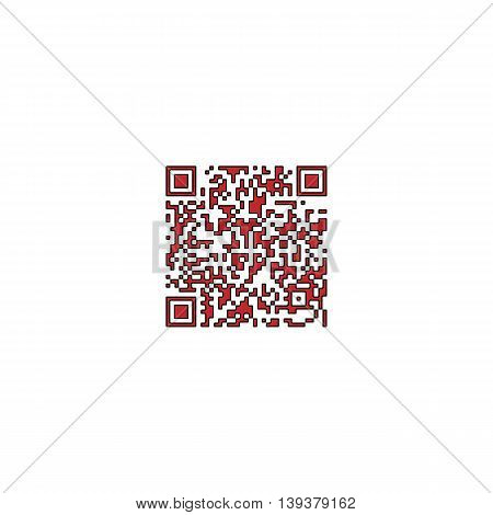 Qr code. Red flat simple modern illustration icon with stroke. Collection concept vector pictogram for infographic project and logo