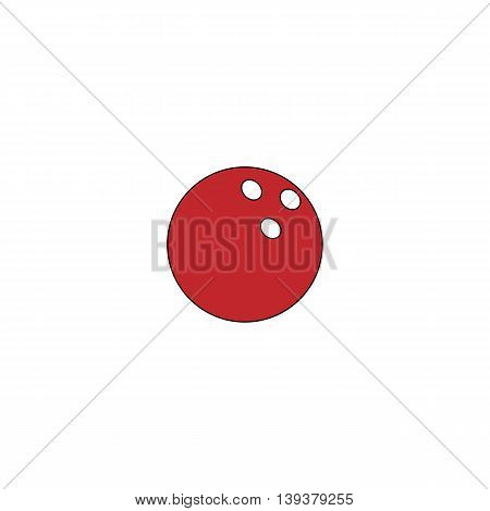 Bowling ball. Red flat simple modern illustration icon with stroke. Collection concept vector pictogram for infographic project and logo