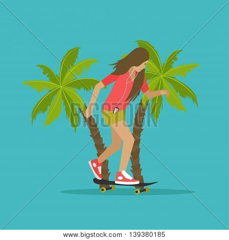 Young girl skateboarding next to palms. Vector illustration in flat style. Urban citizen character. Skateboard, phone, snapback.