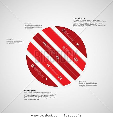 Circle Illustration Template Consists Of Five Red Parts On Light Background