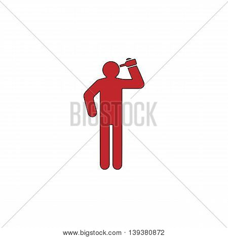 People consume alcohol or water. Red flat simple modern illustration icon with stroke. Collection concept vector pictogram for infographic project and logo