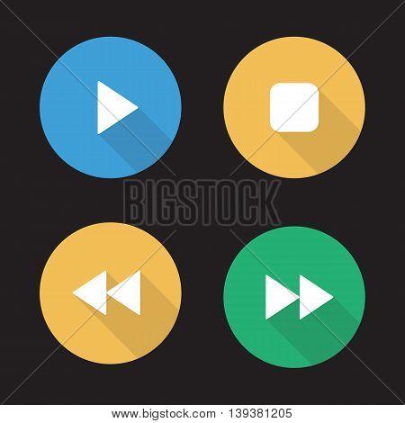 Audio player flat design long shadow icons set. Play, stop, forward and backward buttons. Vector symbols