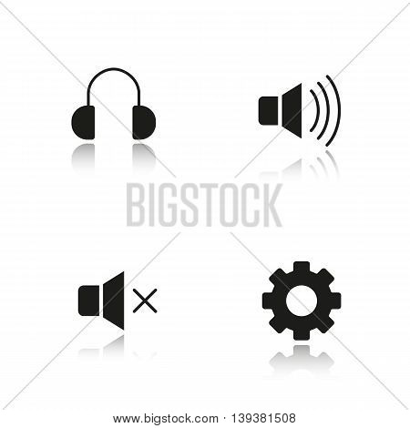 Audio player interface drop shadow black icons set. Mute on and off buttons, headphones and settings symbols. Music player menu isolated vector illustrations