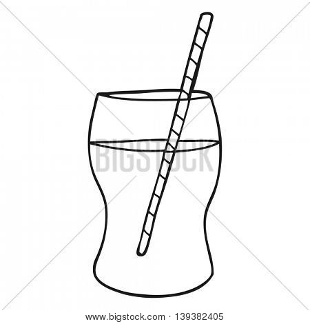 freehand drawn black and white cartoon fizzy drink