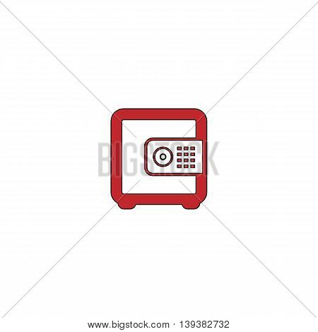 Safe money. Red flat simple modern illustration icon with stroke. Collection concept vector pictogram for infographic project and logo