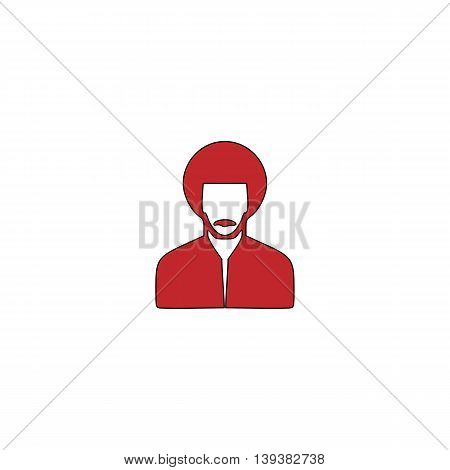 Rastafarian man. Red flat simple modern illustration icon with stroke. Collection concept vector pictogram for infographic project and logo