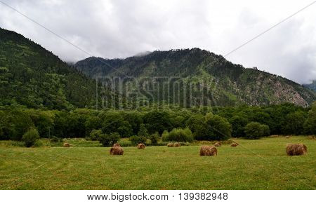 hay bales reserve Teberda, Karachay-Cherkessia Republic, Russia. Photo taken on: July 28 Sunday, 2013