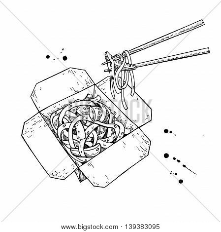 Wok vector drawing. Isolated chinese box and chopsticks with noodles and vegetables. Hand drawn detailed fast asian food illustration.