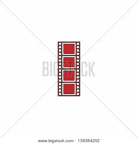Cinematographic film. Red flat simple modern illustration icon with stroke. Collection concept vector pictogram for infographic project and logo