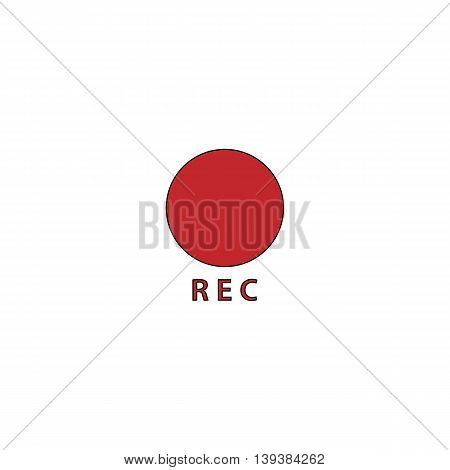 Rec button. Red flat simple modern illustration icon with stroke. Collection concept vector pictogram for infographic project and logo