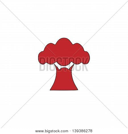 Baobab tree. Red flat simple modern illustration icon with stroke. Collection concept vector pictogram for infographic project and logo