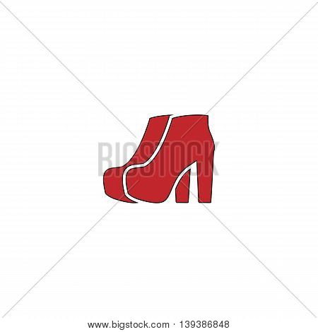 Two Woman Shoes. Red flat simple modern illustration icon with stroke. Collection concept vector pictogram for infographic project and logo