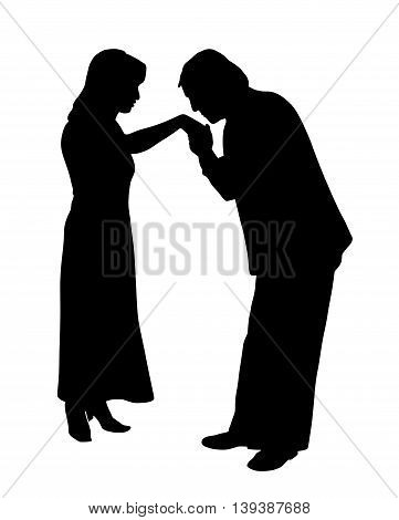 Man kissing woman's hand. Isolated white background. EPS file available.