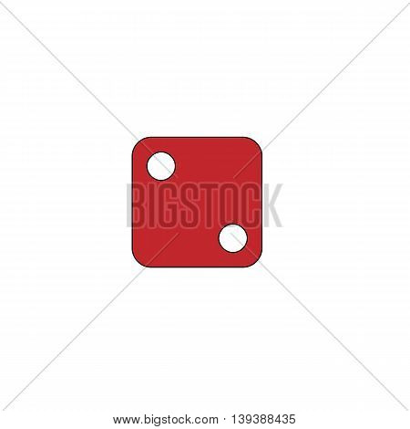 One dices - side with 2. Red flat simple modern illustration icon with stroke. Collection concept vector pictogram for infographic project and logo