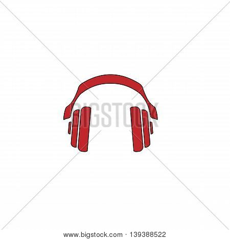 Retro headphone. Red flat simple modern illustration icon with stroke. Collection concept vector pictogram for infographic project and logo