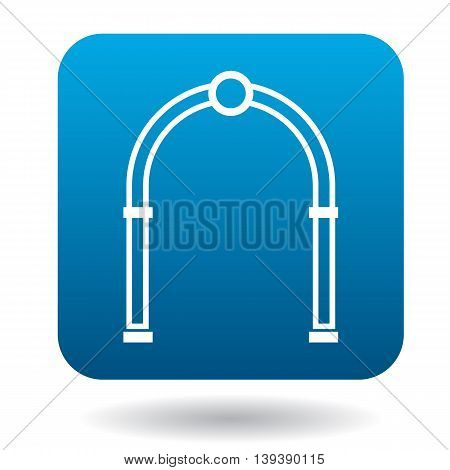 Oval arch icon in simple style in blue square. Construction and interiors symbol