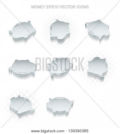 Banking icons set: different views of flat 3d metallic Money Box icon with transparent shadow on white background, EPS 10 vector illustration.