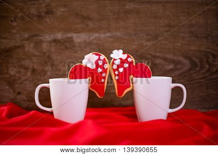 Love you valentine day concept, couple festive cookies