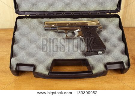 RIVER FALLS,WISCONSIN-JULY 21,2016: A Jennings three eighty caliber semi-auto pistol. Jennings is a branch of Bryco Arms.