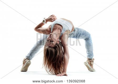 young and beautiful modern style dancer posing