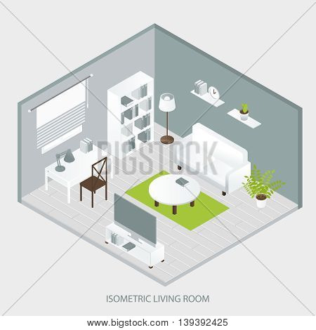 Isometric home interior of sofa bookcase tables grey walls and floor green carpet window tv vector illustration