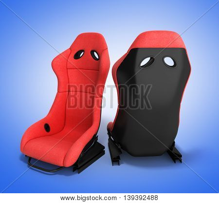 Sporty Red Automobile Armchairs 3D Render On A Gradient Background