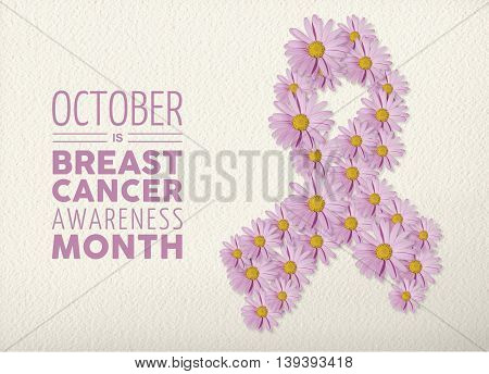 Breast Cancer Awareness Month Floral Pink Ribbon
