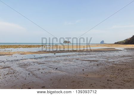 Peaceful low tide beach in the evening at Ko Yao Noi, Phang Nga province, Thailand