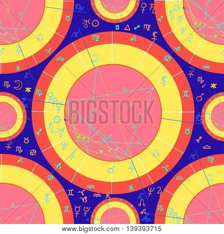 Seamless Pattern Of Pink Of Natal Of Astrological Charts. Vector Illustration