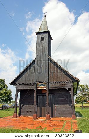 The chapel of Jesus in wounds Pleso built of oak planks is an example of the folk wooden sacral architecture Croatia