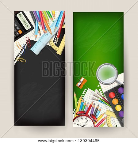 Set of two Back to school vertical banners. Templates with supplies tools on classroom chalkboard. Place for your text. Layered realistic vector illustration.