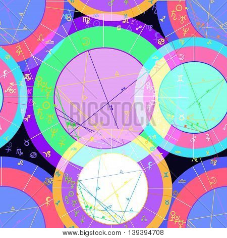 Seamless Pattern Violet Color Of Natal Of Astrological Charts. Vector Illustration
