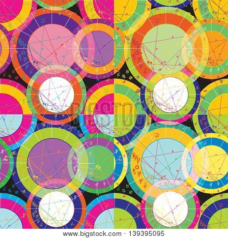 Set Of Of Bright Seamless Pattern Of Natal Of Astrological Charts. Vector Illustration