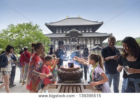 NARA,JAPAN- MAY 25, 2016: Todaiji Temple in Nara Park. This is the biggest wooden temple in the world