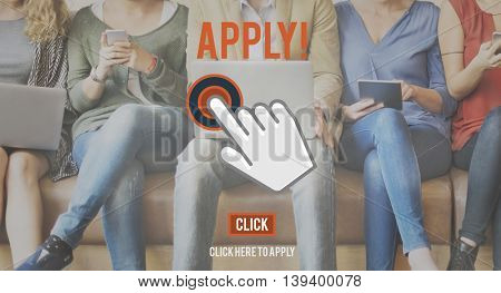 Apply Here Online Application Recruitment Employment Concept
