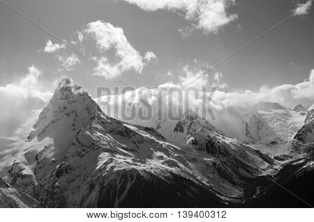 Black And White Winter Mountains With Clouds